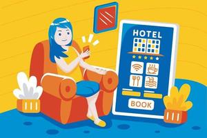 mujer joven reserva de hotel en línea con aplicación móvil. vector