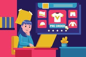 mujer joven se sienta para comprar productos con portátil vector