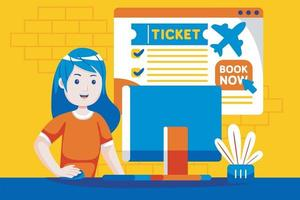 Young woman booking flight online with laptop. vector