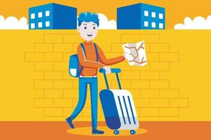 Carefree young man searching for place of destination. vector