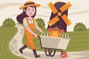 Happy woman pushing farm trolley vector