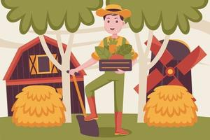 Happy man farmer bring carrot in the basket. vector
