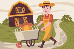 Happy man pushing farm trolley vector