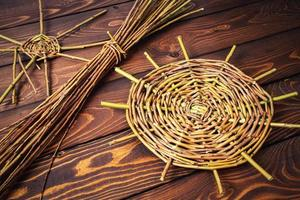 Basket weaving on table