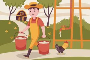 hombre agricultor levanta el agua en el recipiente. vector