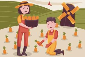 Happy couple farmer harvests carrots at little farm. vector