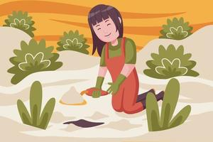 Woman farmer digging the ground for planting plants. vector