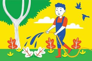 Young man flushes plants at the garden. vector