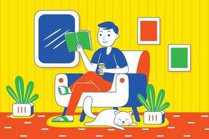 Young man reading book. vector