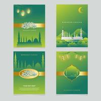 Ramadan Greeting card set vector