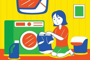Young woman washing clothing with wash machine. vector
