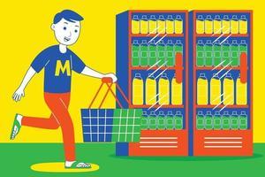 Young man shopping at supermarket. vector
