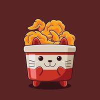 Cute fried chicken cat illustration with flat cartoon style. vector