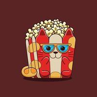 Cute popcorn cat illustration with flat cartoon style. vector