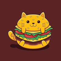 Cute burger cat illustration with flat cartoon style. vector