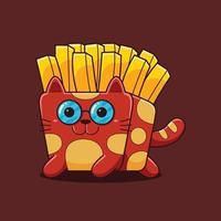linda ilustración de gato de papas fritas con estilo de dibujos animados plana. vector