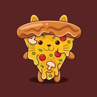 Cute pizza cat illustration with flat cartoon style. vector