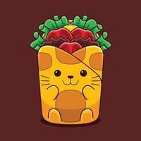 Cute wrap cat illustration with flat cartoon style. vector
