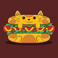 Cute hot dog cat illustration with flat cartoon style. vector