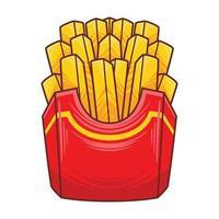 Ilustración de papas fritas en estilo moderno diseño plano. vector