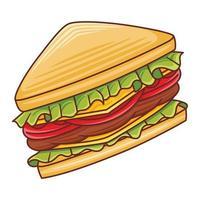 Ilustración de sándwich en estilo moderno diseño plano. vector