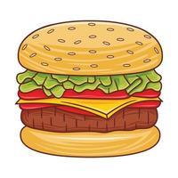 Burger illustration in modern flat design style. vector