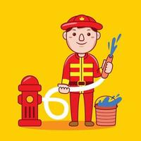 Man firefighter profession in flat design style. vector