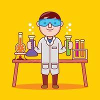 Man chemist profession in flat design style. vector