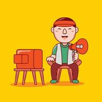 Man film director profession in flat design style. vector