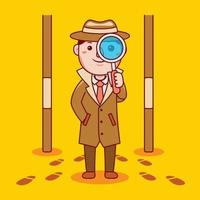 Man detective profession in flat design style. vector