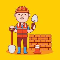 Man builder profession in flat design style. vector