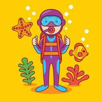Man diver profession in flat design style. vector