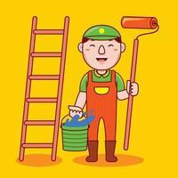 profesión de pintor de hombre en estilo de diseño plano. vector