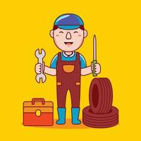 Man mechanic profession in flat design style. vector
