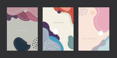 Set of creative background cover brochure organic shapes with lines minimal trendy style vector