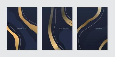 Set of brochure template elegant abstract golden curve line on dark blue background vector