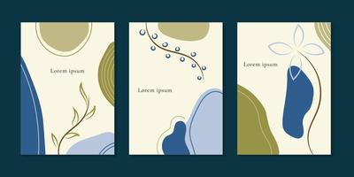 Set of brochure minimal template organic shapes with floral and leaves space for your text. vector