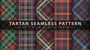 Set classic tartan seamless pattern. Hand draw vector