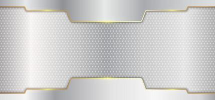 Abstract silver metallic stripes with gold line header on white background luxury style vector