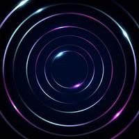 Abstract blue and pink fluorescent circles lines with glowing neon lights on black background vector