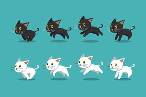 Vector cartoon black cat and white cat running set