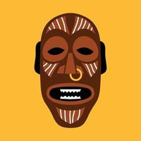 African ritual mask. Flat vector illustration in bright colors on yellow.