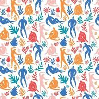 Seamless pattern trendy doodle and abstract people icons on white background. Summer collection, unusual shapes in freehand matisse art style. Includes people, floral art. vector