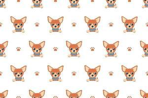 vector, caricatura, carácter, marrón, chihuahua, perro, seamless, patrón