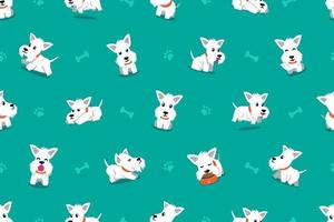 Vector cartoon character white scottish terrier dog seamless pattern background