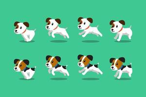 Vector cartoon character jack russell terrier dogs running