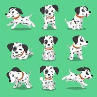 Cartoon character dalmatian dog poses vector
