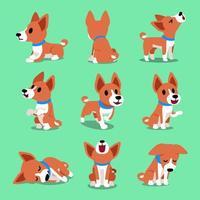 Cartoon character basenji dog poses vector