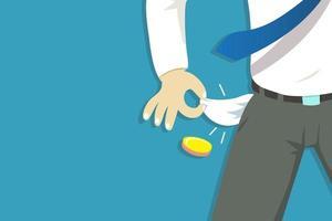 Ilustración vectorial del pobre empresario mostrando sus bolsillos vacíos vector