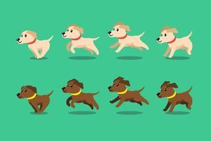 Vector cartoon character labrador retriever dog running step